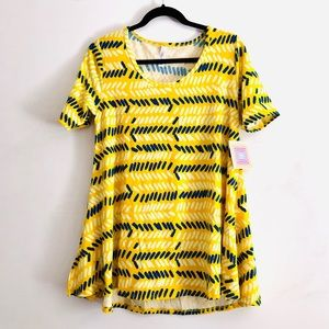 lularoe Perfect T In Yellow Striped Leaf Print NWT